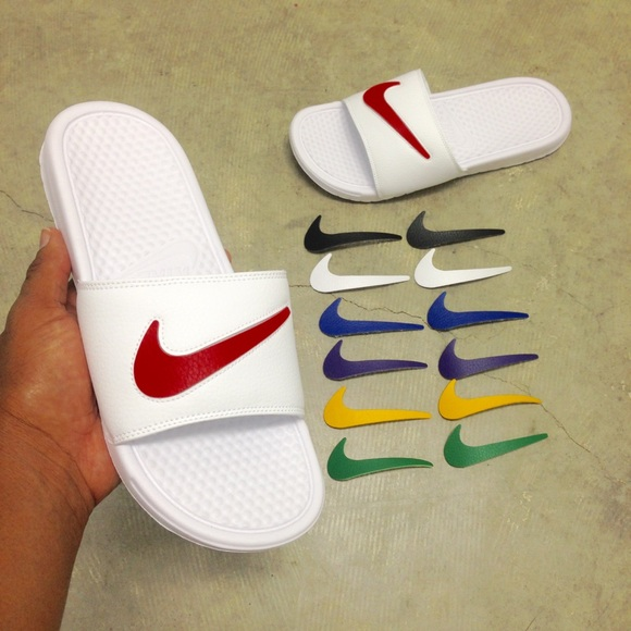2804649d9d2e NIKE BENASSI SWOOSH SLIDES JDI JUST DO IT WHITE